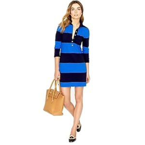 J. Crew Rugby Stripe Dress in Navy Grotto